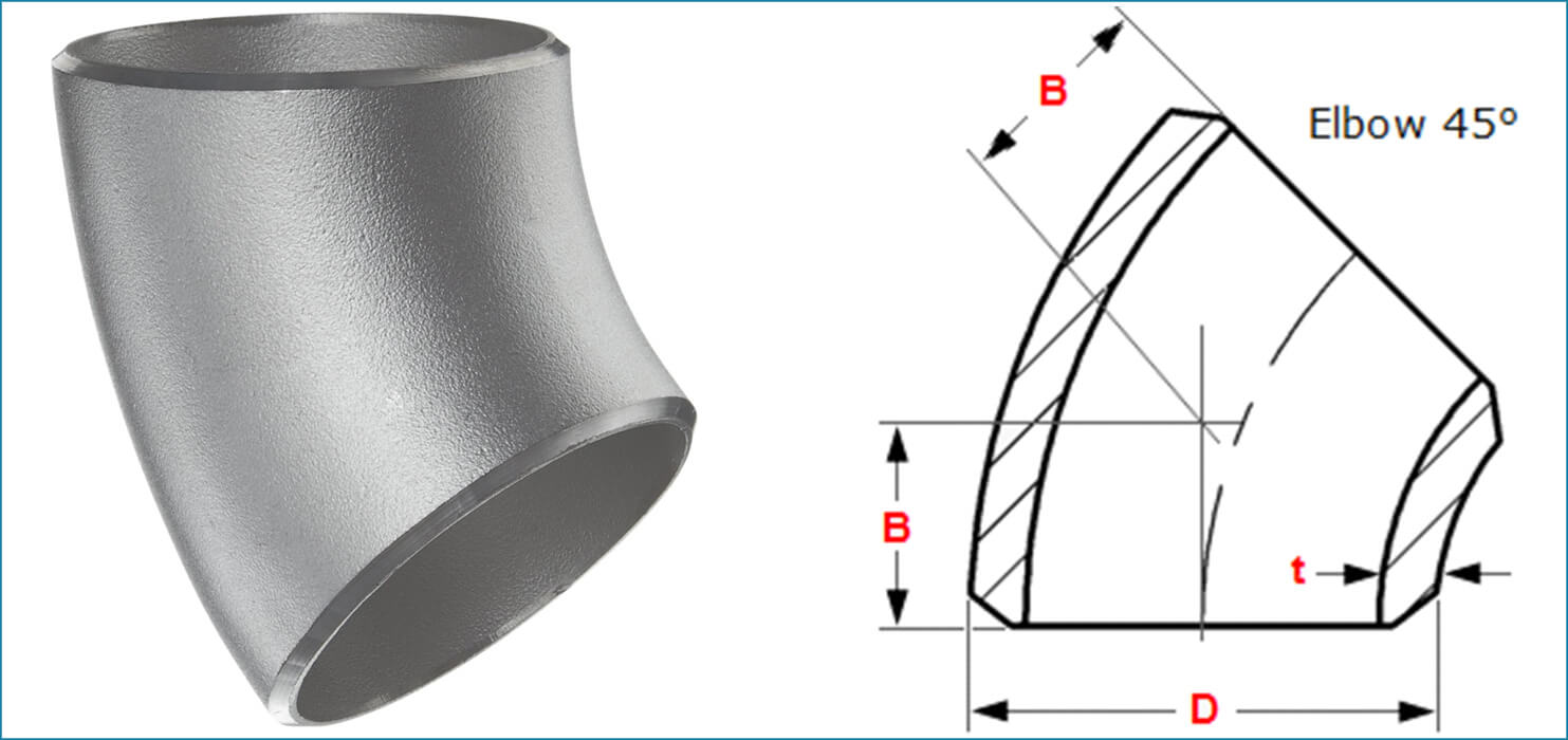 ASME B16.9 Buttweld 45 Deg. Pipe Elbow