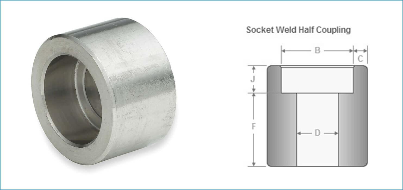 Socket weld half coupling ss