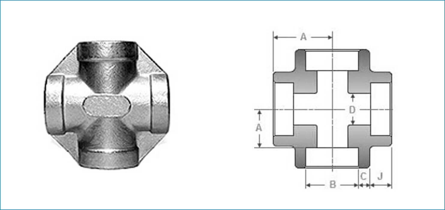 ASME B16.11 Socket Weld Unequal Cross