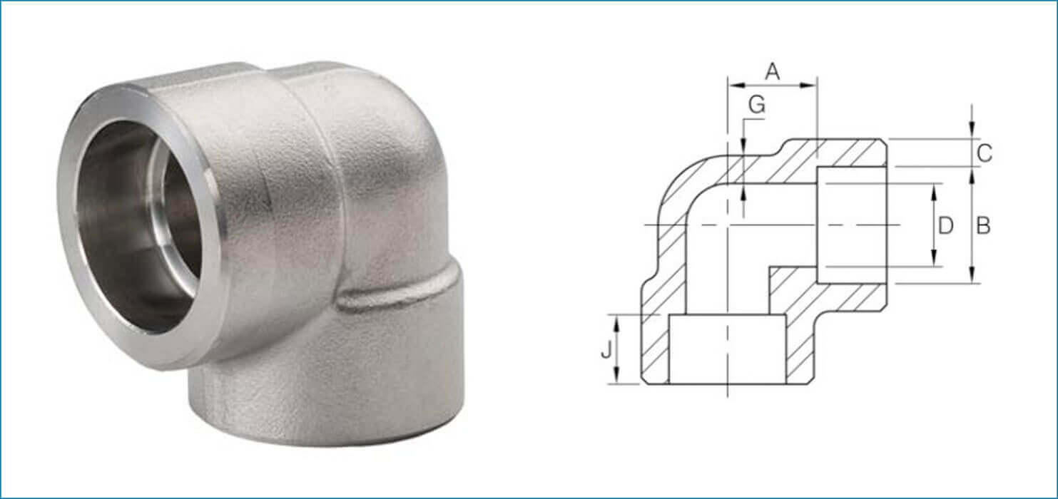 ASME B16.11 Socket Weld 90 Deg Elbow