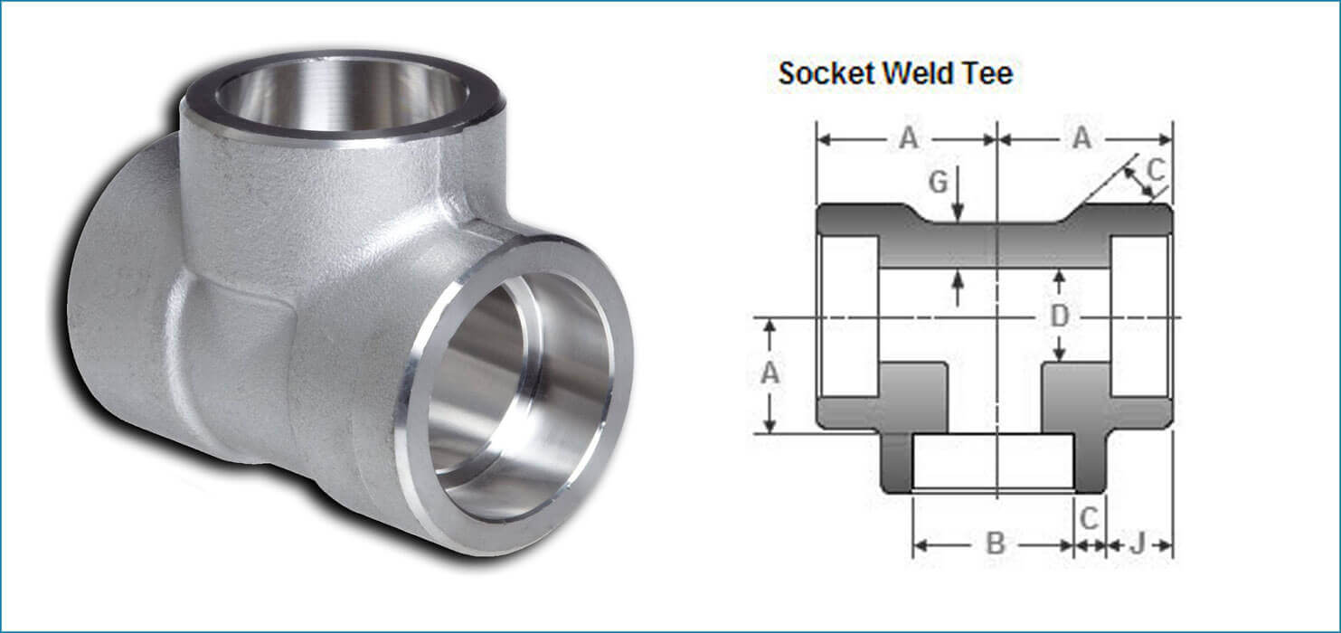 Socket weld equal tee ss forged