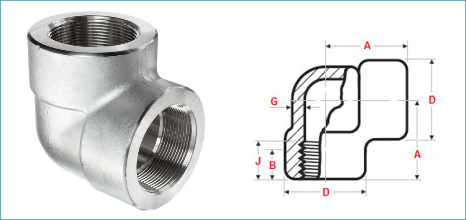 ASME B16.11 Threaded / Screwed 90 Deg Elbow